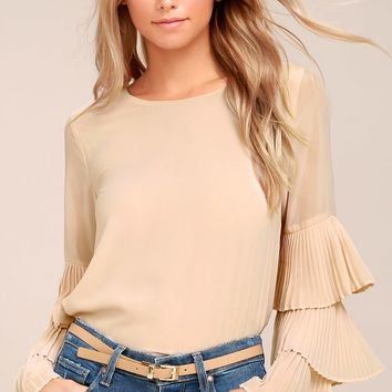 One For the Ages Beige Long Sleeve Top