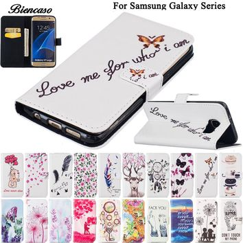 Flower Leather Case For Samsung Galaxy S6 S7 Edge S8 Plus S5 Mini G870 G9350 G9500 Wallet Bag Cases Card Slot Phone Cover B00