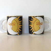 Vintage Celestial Coffee Mugs with Moon Shaped Handles, Moon, Sun, Stars, Housewares, gift idea
