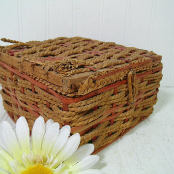 Shabby Chic Antique Wood & Wicker Basket with Latched Lid and Red Trim - Vintage Primitive Crafters Decor Basket Rustic Artisan Petite Chest