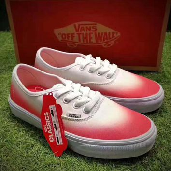 Vans Authentic ¡°Ombre Pink True White gradient flat shoes H-CSXY