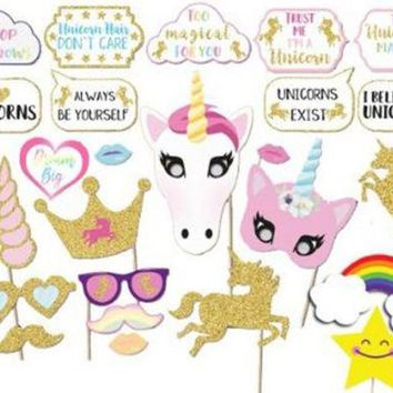 Photo Booth Props - Rainbow & Unicorn Party Photo Booth Props x 30PC