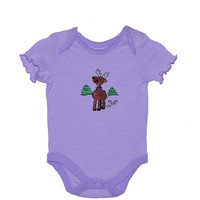 Christmas Holiday Embroidered Reindeer Baby Girl's Onesuit