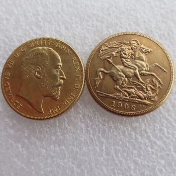 UK Rare 1906 British coin King Edward VII 1 Sovereign Matt 24-K Gold Plated Copy Coins Free Shipping