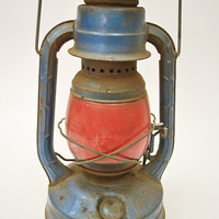 Vintage Dietz Little Wizard Barn Lantern with Red Globe -- Antique, Rustic, Primitive Decoration -- Farmhouse Decor