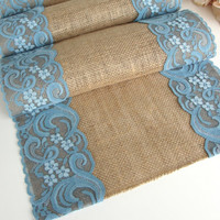 Teal burlap and lace table runner - Table linen home decor with  bleu sarcelle lace - Rustic Wedding Table runner , Handmade in the USA