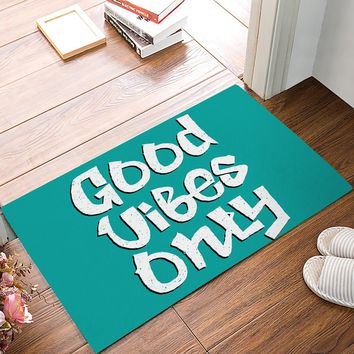 Autumn Fall welcome door mat doormat Fabric & Non-Slip s - Graffiti Style Good Vibes Only Decorative  Indoor/Outdoor  AT_76_7