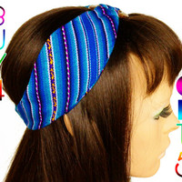 Blue Peruvian fabric, Peruvian textile, Multicolor, Woven Turban Headband, Headband Head Wrap, boho headband, wide headband