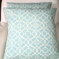 Decorative Pillows As Featured in GOOD HOUSEKEEPING Magazine Outdoor Throw Pillow Cushion Covers Aqua Cream  Waverly - Pair of Two 16 x 16