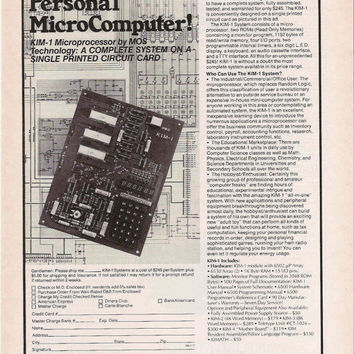 Vintage 1976 Personal Micro Computer Advertisement - Geekery Wall Decor Geekery Gift Techie Gift - Retro Tech Advert
