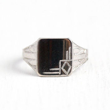 Antique Signet Ring - Vintage Art Deco 10k White Gold - Size 2 1/2 Blank Monogram Baby Midi Children's Fine Ostby Barton OB Jewelry