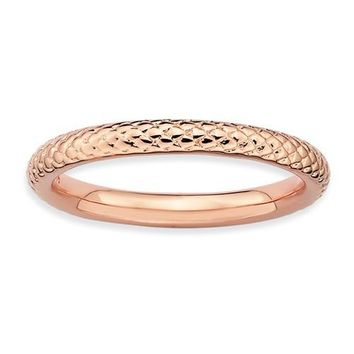 Rose Gold Over Sterling Silver Stackable Expressions Cable Patterned Ring