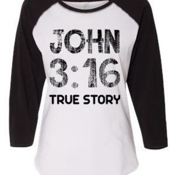 John 3:16 Women's Baseball Jersey Christian Shirt