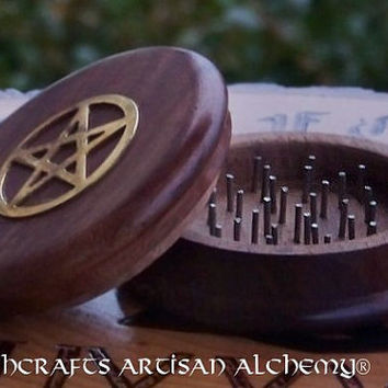 "PENTACLE Herb Spice Incense Grinder 3"" - Crafting Herb Preparation Tool, Kitchen Witchery, Witchcraft, Wicca, Pagan, Ritual Magick"