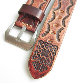 Vintage leather watch band, 24mm
