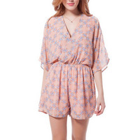 Orange Patterned V-Neck Sleeve Romper