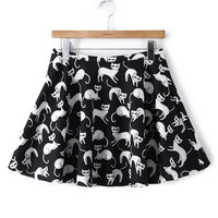 Cat Print Zippered Circle Mini Skirt