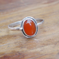 Sterling silver carnelian ring | Beautiful orange stone ring | oval shape carnelian silver ring | Jaipur Jewelry | light weight Gift Ring.
