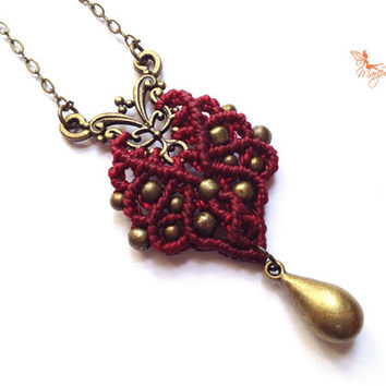 Tribal-chic minimalist handwoven red pendant on a antique bronze color chain micro macrame boho gypsy bohemian