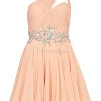 A-line One Shoulder Short/Mini Chiffon Prom Dress With Sequin at Dresseshop