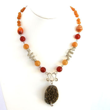 Orange Carnelian and Druzy Wire Wrapped Gemstone Necklace, Gift for Her