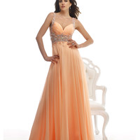 Flowing Peach Embellished Gown