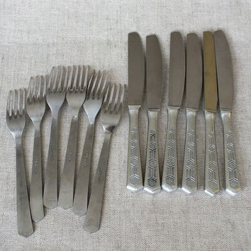 Russian Vintage 6 Sets Of Fork And Knife. 12 Pieces Stainless Steel Table Serving Set Unused. Soviet Vintage Serving Utensils 80s.