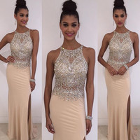 New Arrival High Neck Beaded Bodice 2016 Prom Dress Nude Jersey Dress APD1650