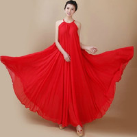 Red Wedding Party Dress Boho Holiday Beach Maternity Maxi Dress