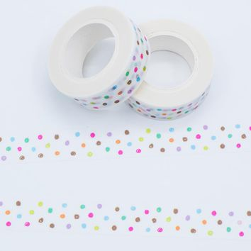 Japanese Mixed Color Washi Tape Crafts Dot Pattern Masking Paper Tapes 2017 New Models Decorative Adhesive Tape Set 1PCS/Lot