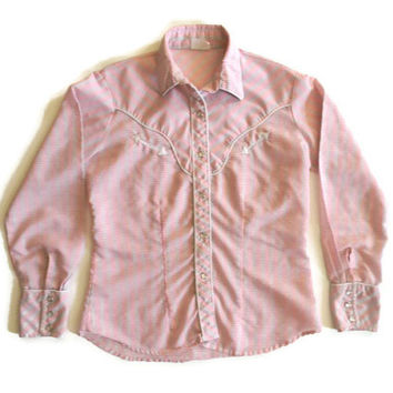 Vintage Pink, Yellow and Blue Plaid Western Shirt by The Best Little Shirt House in Texas