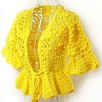 Hand Crocheted Loose Cardigan - Sweater - Outwear