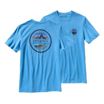 Patagonia Men's Rivet Logo Cotton/Poly T-Shirt | Skipper Blue