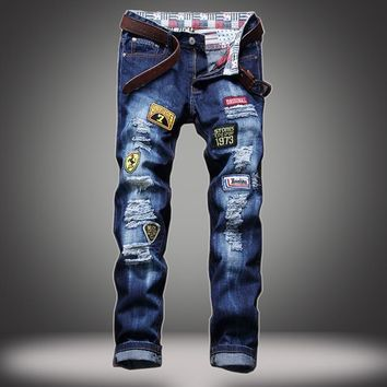 Men's jeans hole patch embroidered badges straight skinny jeans