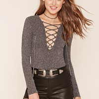 Marled Lace-Up Top