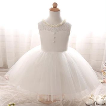White Flower Girl Dresses Puffy Tulle Girls Pageant Dresses Vestidos De Primera Comunion Kids Evening Gowns Holy Communion Dress