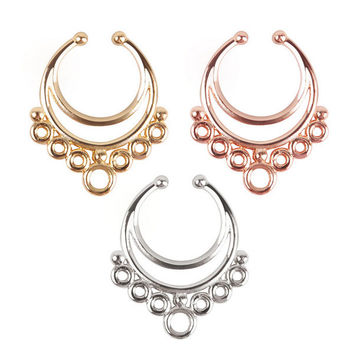Tribal Clip On Bubble Septum Ring Boho Faux Nose Ring