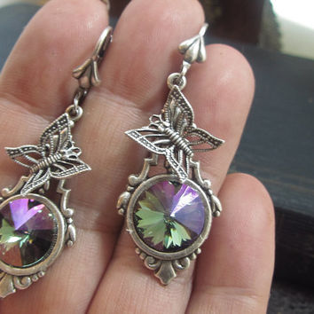 Swarovski Crystal Earrings Aqua Purple Haze art deco butterfly drop