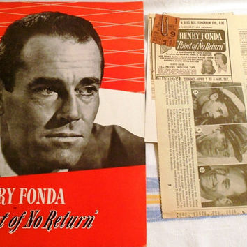 "Wow - 1953 Henry Fonda Playbill, Newspaper Clippings and Ticket Stub from the Play ""Point of No Return."""