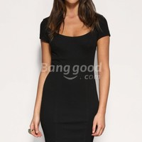 European OL Style Sexy Round Neck Short Sleeve Slim Dress Free Shipping!  - US$38.62