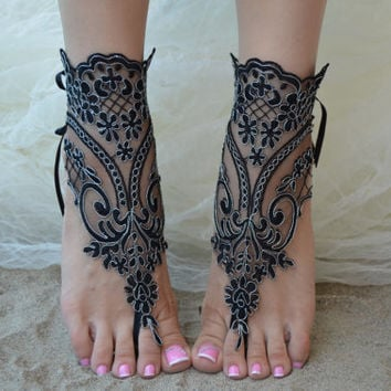 beach wedding barefoot sandals, beach barefoot sandals, lace barefoot sandals, beach lace wedding shoes, lace wedding shoes, sandales noires
