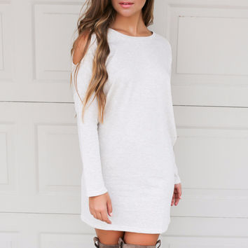 Golden Years Light Taupe Long Sleeve Cold Shoulder Dress