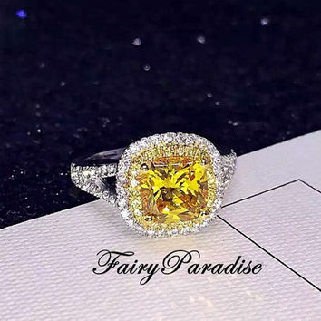 2 Ct Art Deco Two Tone Double Halo Engagement Rings / Promise Ring, Yellow Cushion Cut Man Made Diamond, Free gift box (Fairy Paradise)