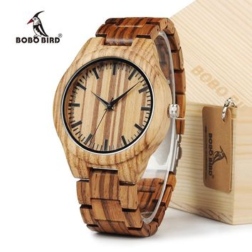 BOBO BIRD All Zebra Wood Men's Quartz Watch Analog Japan Movement 2035 Casual Wooden Band Wood Watches as gifts for Men