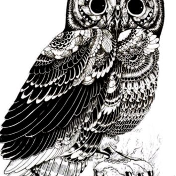 Owl Tattoo Large Temporary Fake Tattoo {Black}
