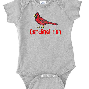 EMBROIDERED CARDINAL Baseball Team Onesuit Personalized Sports Fan Newborn Birthday Baby Infant Onesuit Sports Party Baby Shower