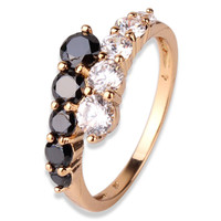 18K Gold Plated Black & White Swiss Band Ring For Women Love Jewelry