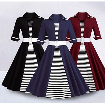 Vintage Inspired Striped Swing Dress, Sizes Small - 4XLarge