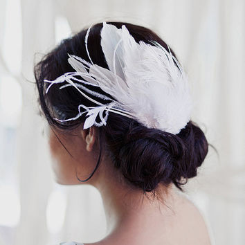 Odette layered feather comb by mignonnehandmade on Etsy