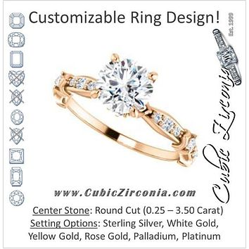 Cubic Zirconia Engagement Ring- The Willow (Customizable Round Cut Artisan Design with 3 Kinds of Round Cut Accents)